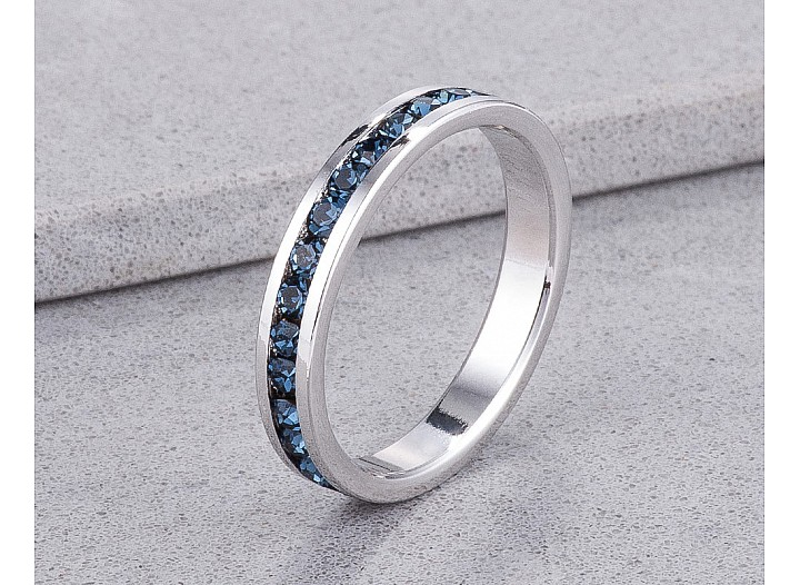 Sparkly Stackable Sapphire Blue Crystal Eternity Band